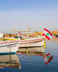 Sea Flag Meanings Lebanon Flag Tyre Sour Boats Sea Water Fish Port Blue Spring
