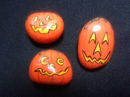 halloween magnets painted stones home decor pumpkin