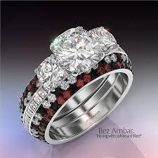 com red rings images Cushion cut three stone ring set trio jpg