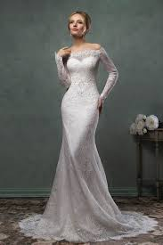Vintage Lace Wedding Dress Vintage Mermaid Off The Shoulder Long Sleeves Lace Wedding Dress
