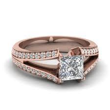 glance through our split shank princess engagement rings