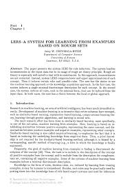 lers a system for learning from examples based on rough sets