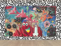 Mural Painting On Canvas by Fast Forward Painting From The 1980s Whitney Museum Of American Art