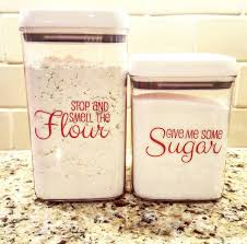 kitchen flour canisters sugar and flour canister decals set of 2 kitchen decals