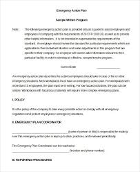emergency action plan sample emergency action plan 8 examples