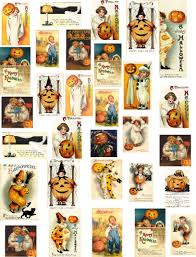 decoupage paper vintage halloween mini images collage sheet