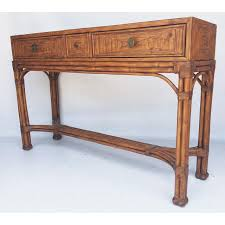 Ethan Allen Console Table with Ethan Allen Burnt Bamboo Rattan 3 Drawer Console Table Chairish