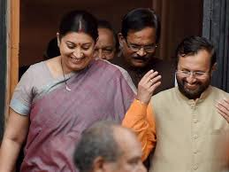New Cabinet India Irani Shifted To Textiles Ministry Javadekar Is New Hrd Minister