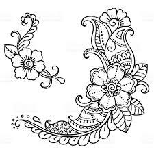henna tattoo flower template mehndi style stock vector art