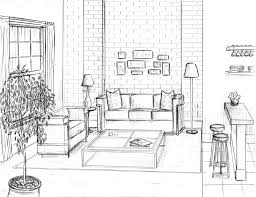 Living Room Architecture Drawing How To Draw A 1 Point Perspective Bedroom Image Gallery