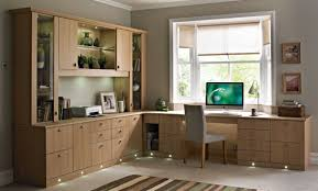 Small Built In Desk Traditional Home Office Design Grey Laminated Wooden Workspace