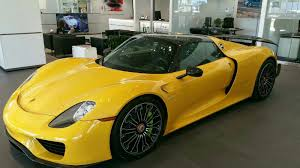 porsche yellow one of a kind yellow porsche 918 had the weissach package and