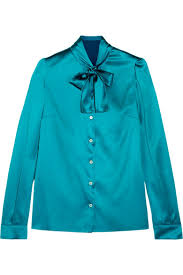 turquoise blouse dolce gabbana bow silk blend satin blouse a porter com