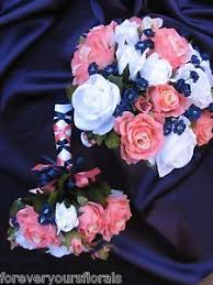 wedding flowers ebay navy and coral reef bridal bouquet silk coral reef and navy