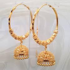 gold jhumka hoop earrings goldshine hoop bali earrings 22k gold chandelier jhumka