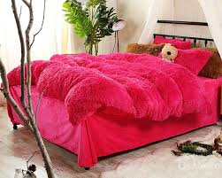full size bright rose red plush 4 piece fluffy bedding sets duvet