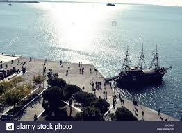 Thessaloniki Greece Map by Seafront And Thermal Bay In Thessaloniki Greece Stock Photo