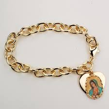 gold bracelet with heart charms images Our lady of guadalupe bracelet heart medal gold plated 7 1 jpg