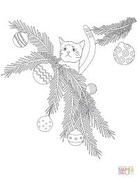 cat in christmas tree branches coloring page free printable