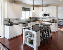 Wood Island Kitchen by Countertops For White Kitchen Cabinets Cream Granite Countertop