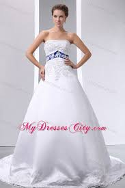 wedding dresses with color appliques strapless satin and lace wedding dress with blue color