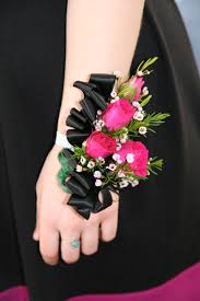 and black corsage file pink and black wrist corsages jpg wikimedia commons