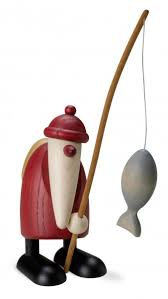 santa claus with fishing rod and line small small santa claus