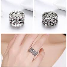 heart style rings images 925 sterling silver romantic stackable crown heart pink cz finger jpg