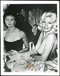 Jane Mansfield Lot Detail Sophia Loren 1957 Famously Glaring At Jayne Mansfield