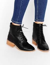 womens boots asos asos artistry leather lace up brogue boots black box leather