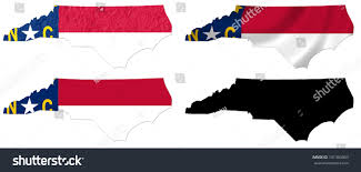 North Carolina State Map by Us North Carolina State Flag Over Stock Illustration 131363003