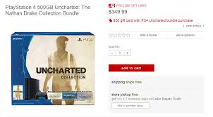 ps4 gift card grab a ps4 console for 350 with 50 gift card and uncharted the