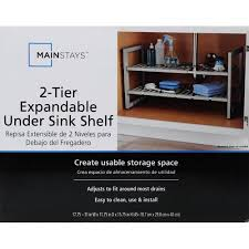 easy home expandable under sink shelf mainstays 2 tier under si walmart com