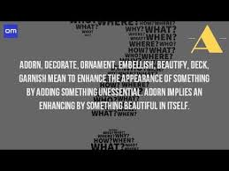 What Does It Mean To Adorn