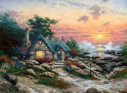 kinkade cottage by the sea painting cottage by the sea