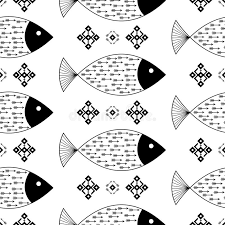 seamless pattern fishes with indian american arrows and