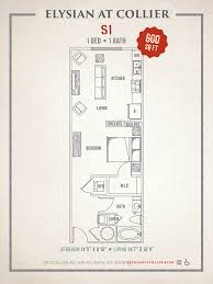 1 bed 1 bath apartment in atlanta ga elysian at collier