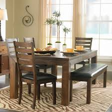 Dining Room Bench With Back by Brown Zebra Printed Rug And Black Leather Bench For Country Styled