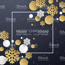 christmas background with golden and white paper snowflakes on