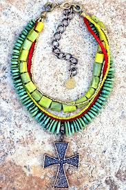 yellow turquoise necklace images Jamaican inspired green red yellow turquoise cross statement necklace jpg