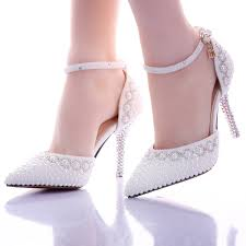 wedding shoes rhinestones pointed toe white pearl rhinestone wedding shoes 7cm 9cm thin