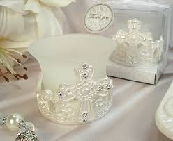 baptism candle favors cross design candle tea light holder