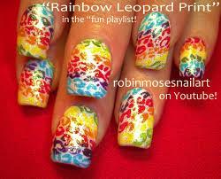 easy nail art rainbow leopard youtube