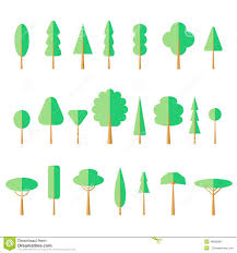 flat tree set icon stock vector image 46690983