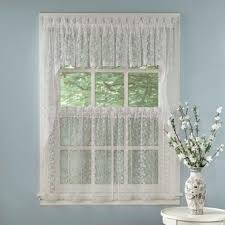 Kitchen Curtain Sets Lace Kitchen Curtain Sets Modern White Transparent Tiers Pair