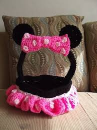 minnie mouse easter baskets minnie mouse crochet easter basket a knit or crochet basket