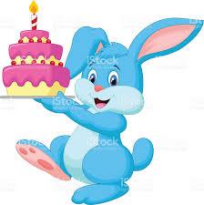 gateau anniversaire animaux lapin en dessin animé avec gâteau danniversaire stock vecteur