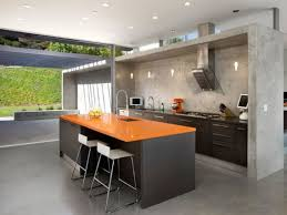 stainless steel kitchen designs use white stools and dark stainless steel kitchen island to