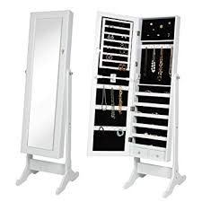 standing mirror jewelry cabinet spacious armoire jewelry cabinet includes 48 necklace hooks 2