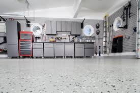 large modern garage makeover desgin with silver painted wall large modern garage makeover desgin with silver painted wall interior color decor combined with floor painted with epoxy and mounted cabinet and storage